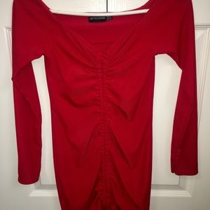 PrettyLittleThing red long sleeve dress